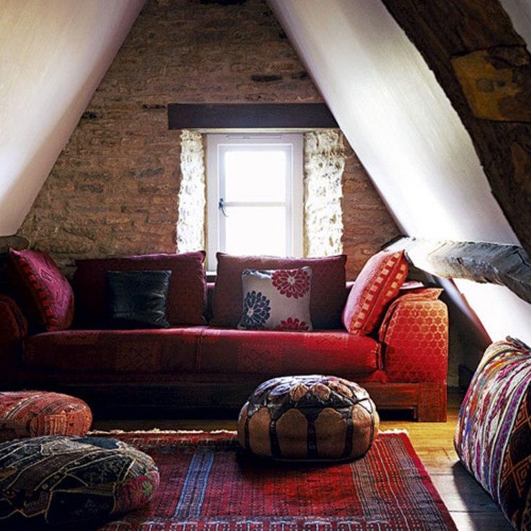 Rustic Bohemian Attic Living Room