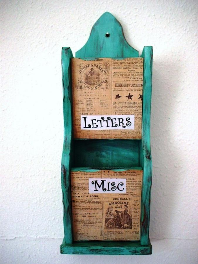 shabby chic wall mount teal letter holder