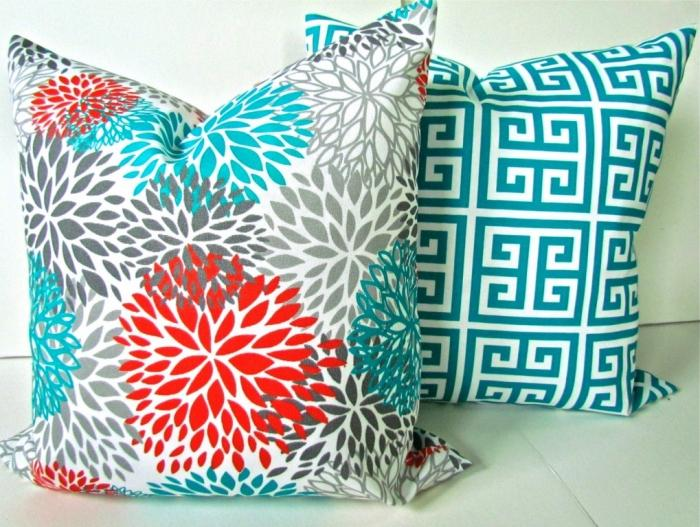 Charming Shade Of Blue Two Pattern Outdoor Pillow Design