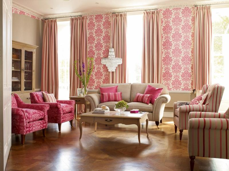 Pink Living Room - Home Design Ideas and Pictures