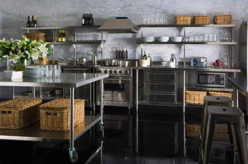 Super Industrial Kitchen with Stainless Steel Shelves