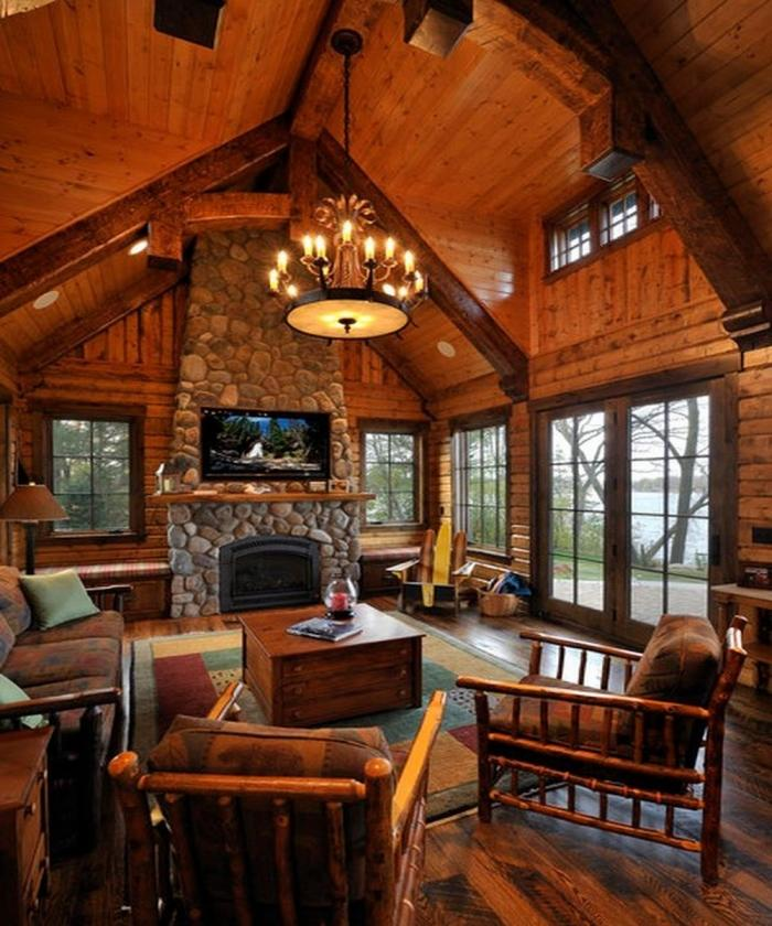 Warm Rustic Living Room Ideas: 10 Fascinating High Ceiling Living Rooms With Chandelier