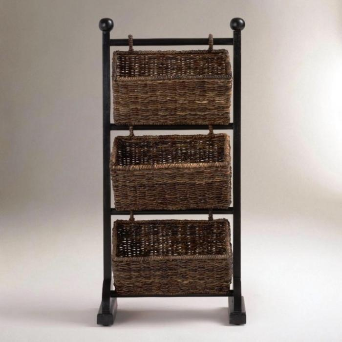 Traditional Rattan Baskets Cubby Towel Storage