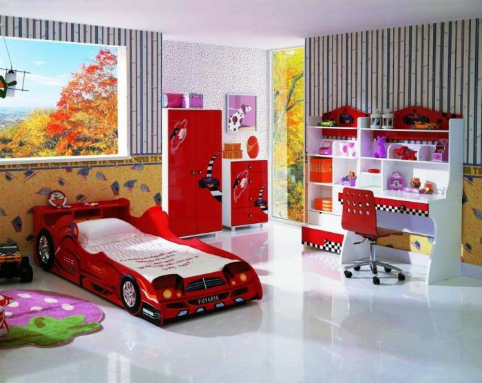 Adorable Red And White Kids Bedroom