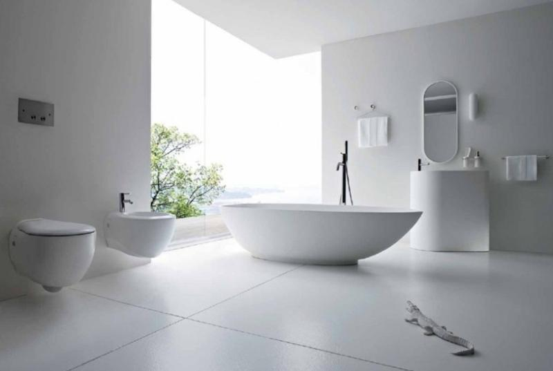 All White Contemporary Minimalist Bathroom