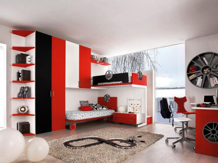 Amazing Black Red And White Sports Themed Bedroom