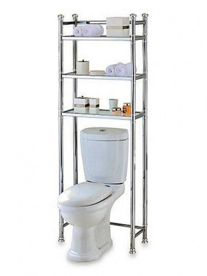Awesome Over The Toilet Bathroom Storage Cabinet Shelves Rack White Pictures