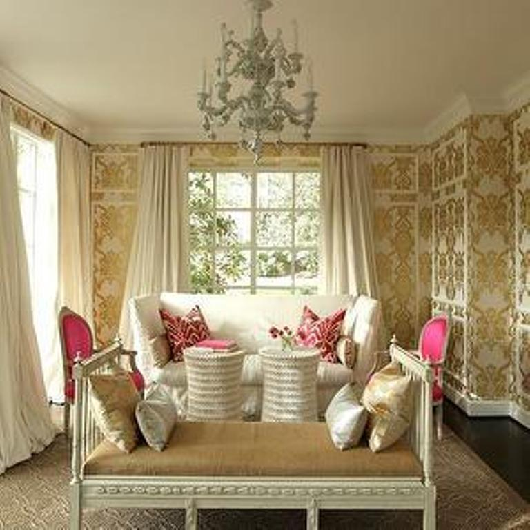 Beautiful Living Room with Damask Wallpaper