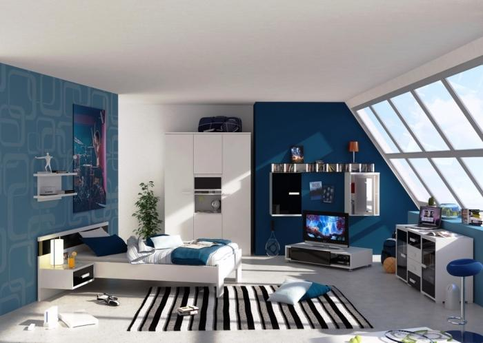 Blue Boys Bedroom with Skylights