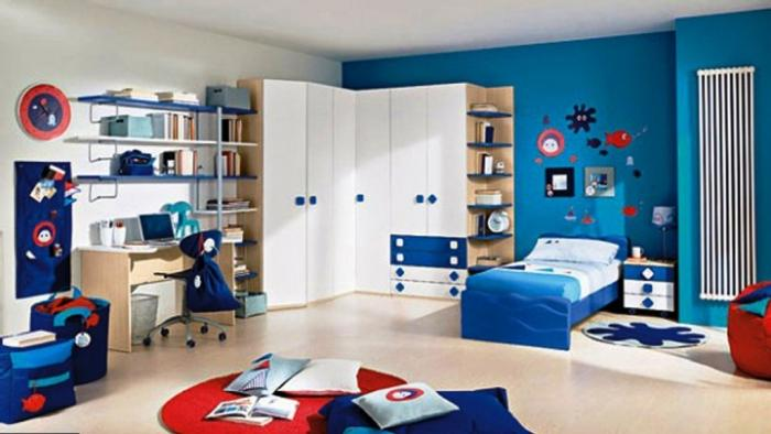 Beautiful Blue Modern Kids Bedroom Design