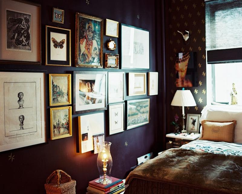 Bohemian Bedroom With Eclectic Gallery Wall