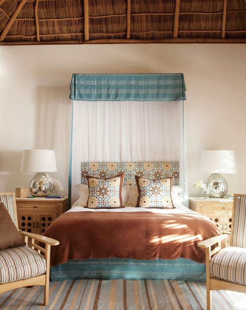 Boho Chic Bedroom With Rattan Ceiling