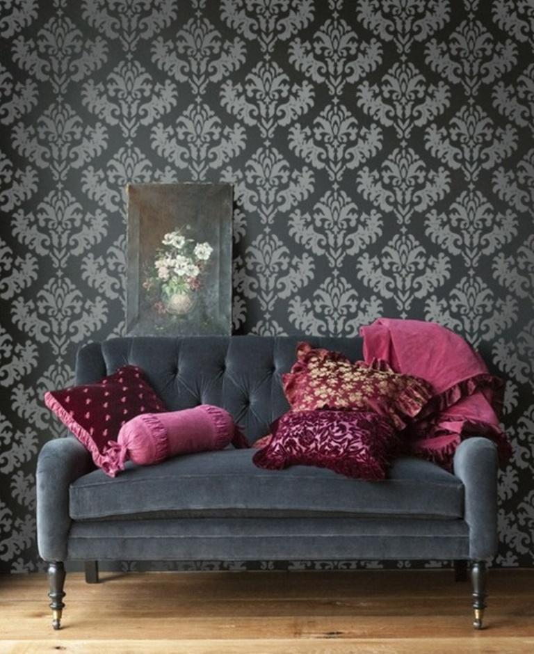 Bold Living Room With Damask Wallpaper