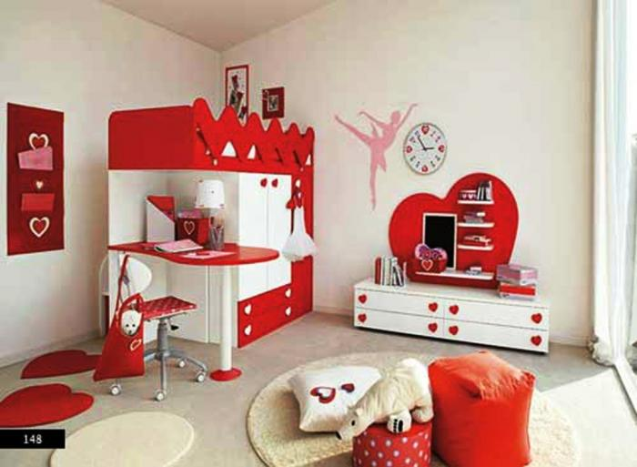 Brilliant Red And White Bedroom Decoration