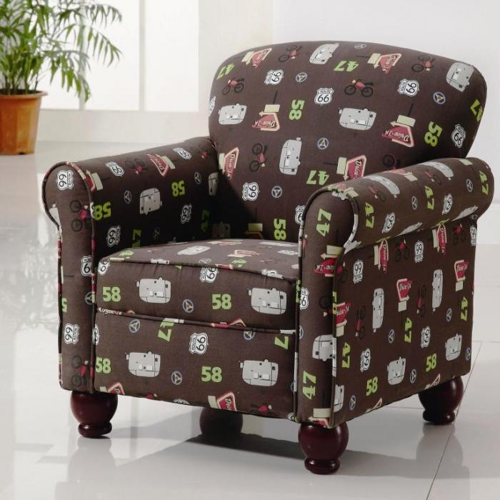 Brown Printed Accent Chair