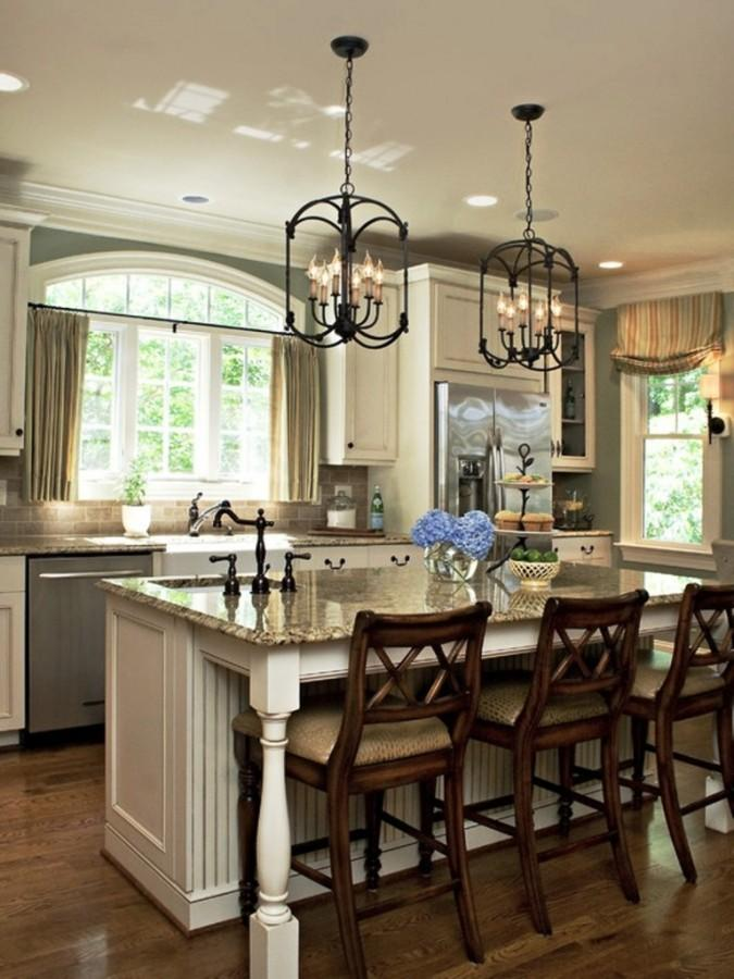 Classic Pendant Light Over Kitchen Island