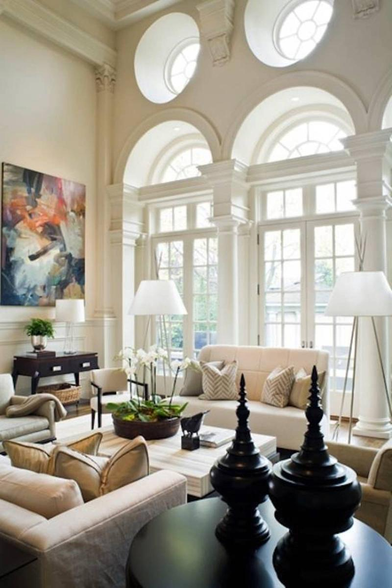 Classy Living Room with High Ceiling