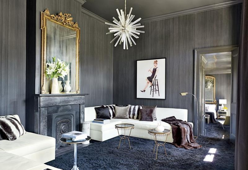 contemporary dark gray living room