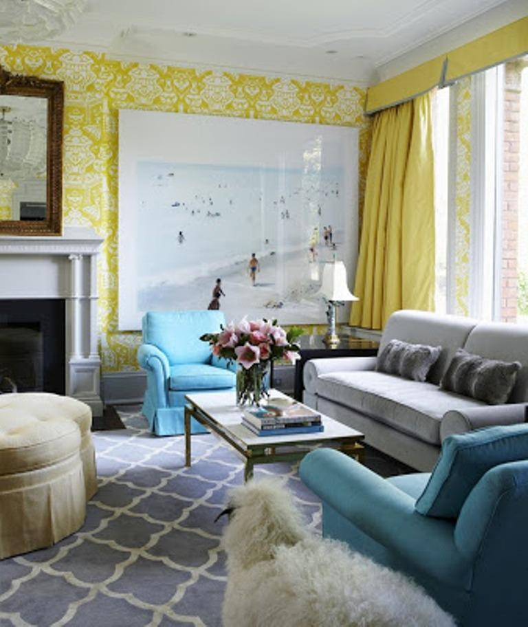 Cozy Living Room With Yellow Damask Wallpaper
