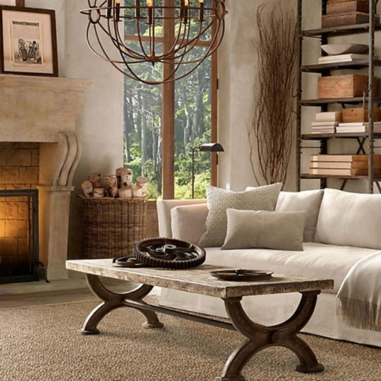 Creamy Rustic Living Room
