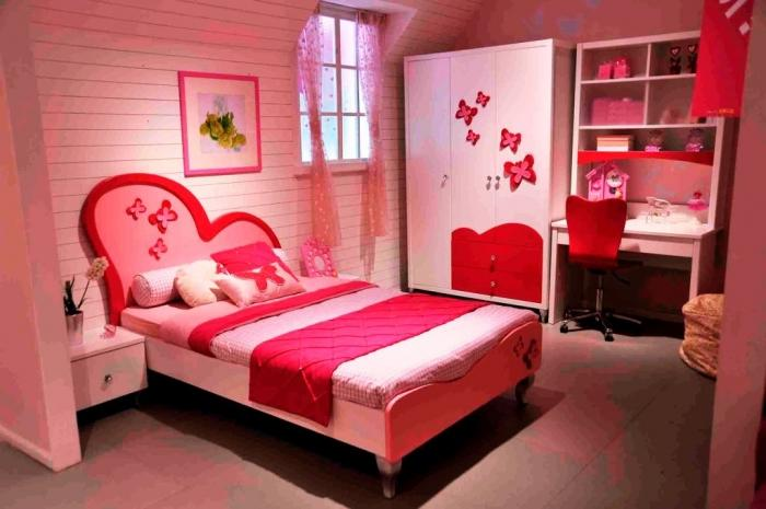 Charmant Cute White And Red Themed Teen Girlu0027s Bedroom