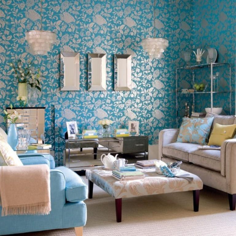 Dramatic Living Room With Damask Wallpaper Part 57