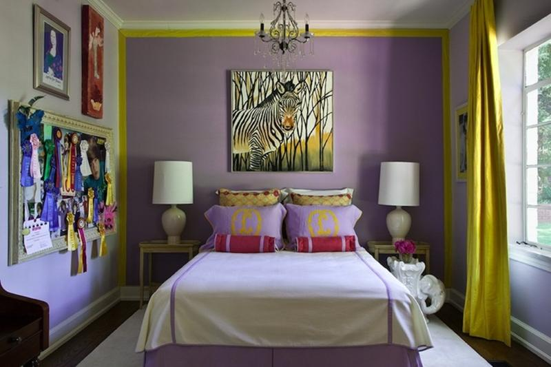 Eclectic Yellow And Purple Bedroom