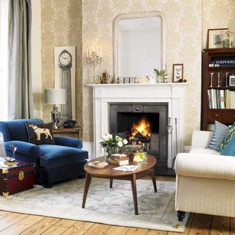 Beautiful Cozy Homes: 30 Elegant And Chic Living Rooms With Damask Wallpaper