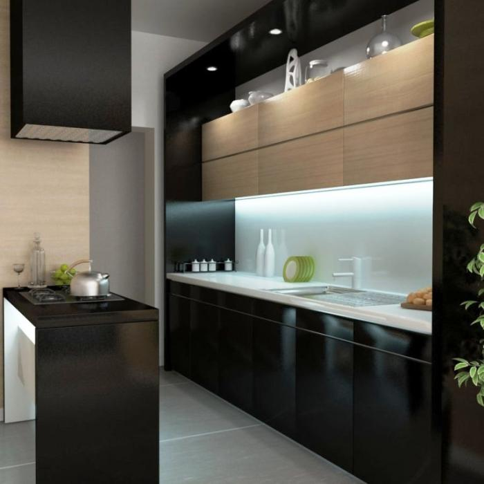 Extraordinary Modern Black Kitchen Cabinets Design With Black And Natural  Wood Wall Cabinet And Black Range Hood Part 69