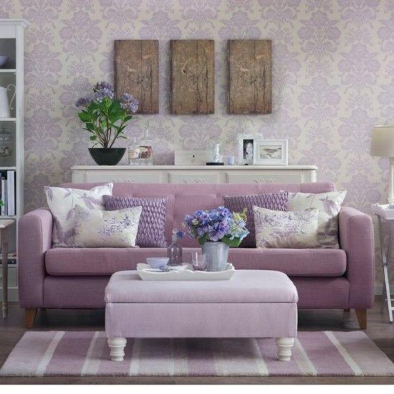 Feminine Living Room With Damask Wallpaper Part 46