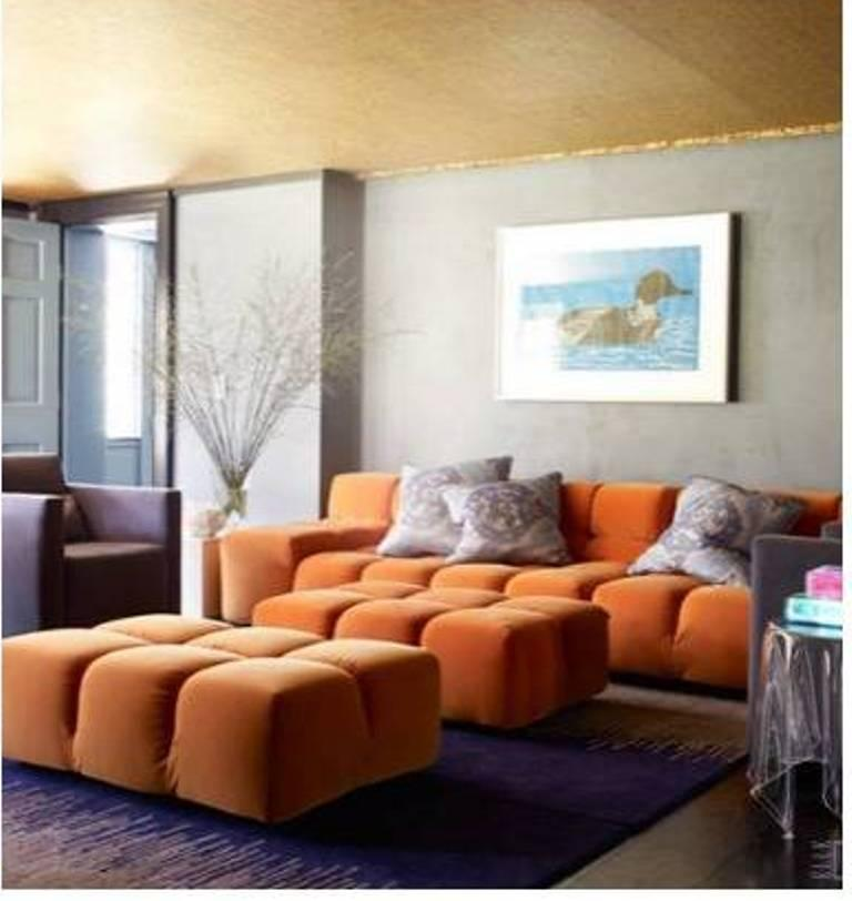 Gray And Tangerine Living Room