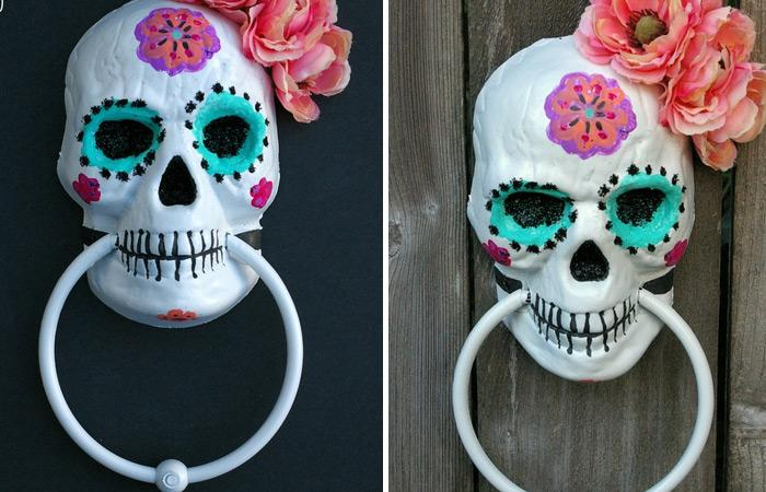 diy painted sugar skull so cool and creative right this incredible sweet looking skeleton may work as a perfect halloween decoration - Diy Halloween Decorations