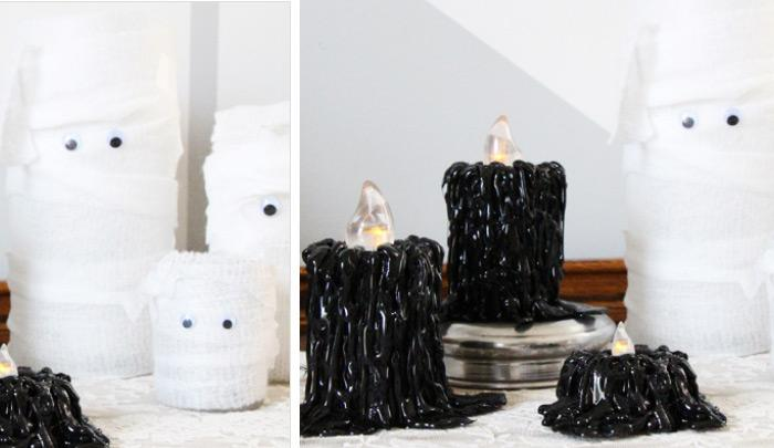 diy halloween decor drippy black candles check out this super easy diy project and learn how to create super fun and creative halloween centerpieces