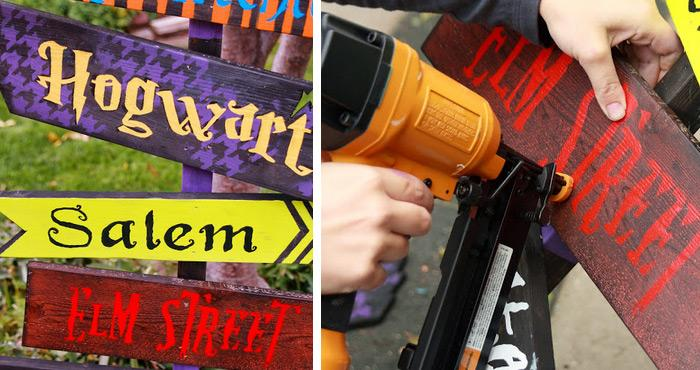 diy halloween yard signhow about making a sign with mysterious directions in your yard check out the easy diy tutorial on how to make it - Diy Halloween Decorations For Kids