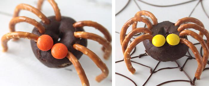 83easy mini donut spiders easy halloween treat kids can makethese donut spiders are almost too cute to be eaten learn how to make them here