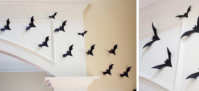 easy diy halloween decor wall of bats check out this super easy project and learn how to create these spooky nest of black bats and decorate your wall in - Home Made Halloween Decorations