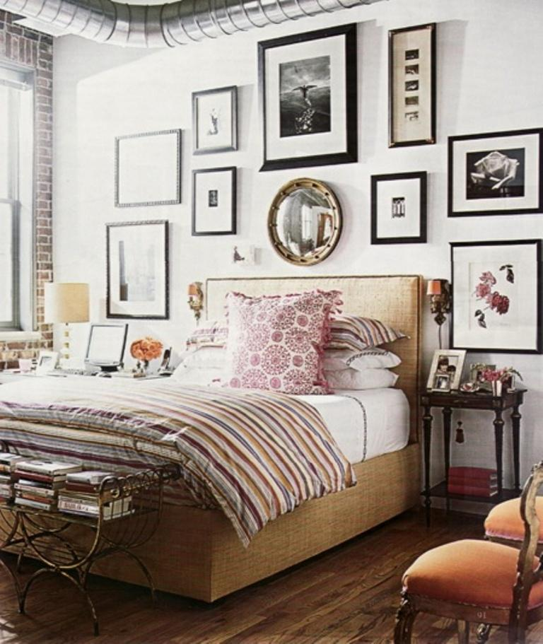 The Exposed Vent Set The Industrial And Bold Setting Of The Eclectic And  Charming Bedroom, While The Strict And Contemporary Gallery Wall Fills The  Bedroom ...