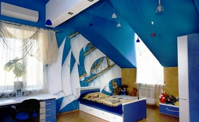 Lovable Boys Bedroom In Sea Blue Paint Color