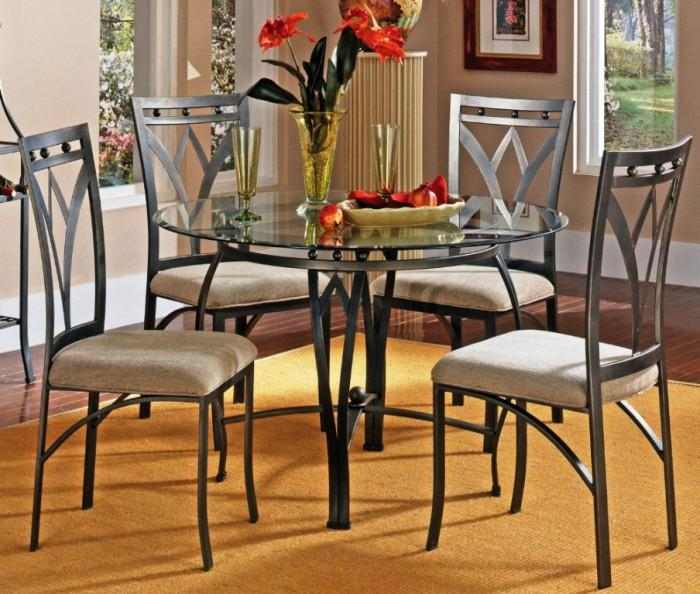 madrid 5 piece round dining room set - Glass Round Dining Table And Chairs