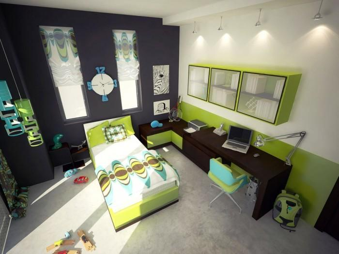 Modern Lime Green And Brown Color Scheme Kids Bedroom