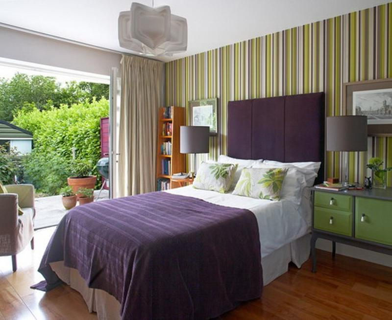 25 stunning bedroom designs with bold color scheme rilane for Purple and green bedroom walls