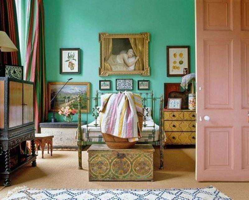 Quirky Bedroom with Vintage Gallery Wall