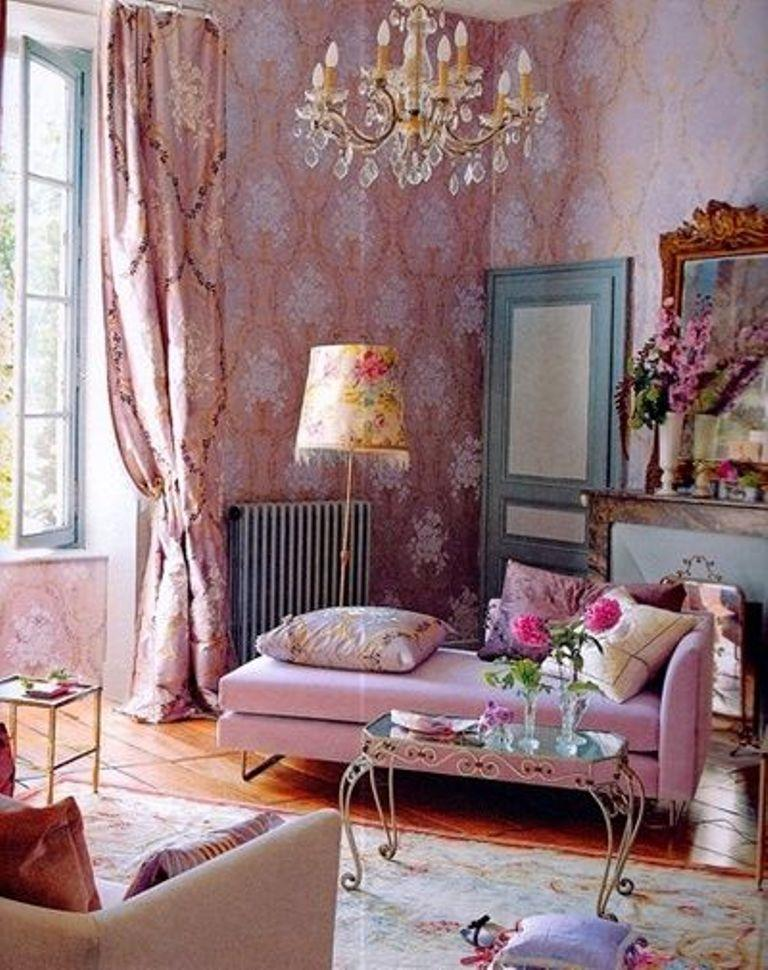 Quirky Boho Living Room With Damask Wallpaper Part 34