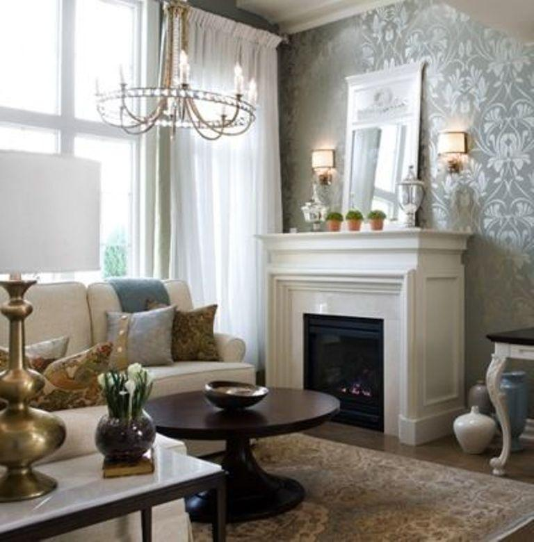 Refined Living Room With Damask Wallpaper. `