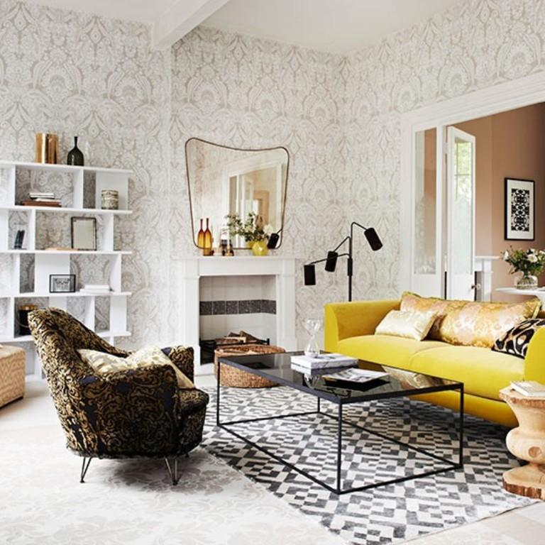 48 Elegant And Chic Living Rooms With Damask Wallpaper Rilane Inspiration Brown Sofas In Living Rooms Property