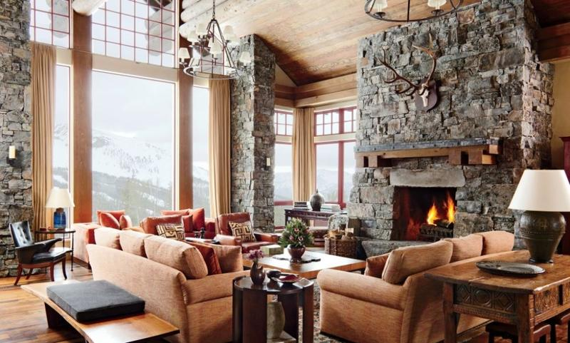 Rustic Interior Design Ideas Living Room Plain Design Spacious ...