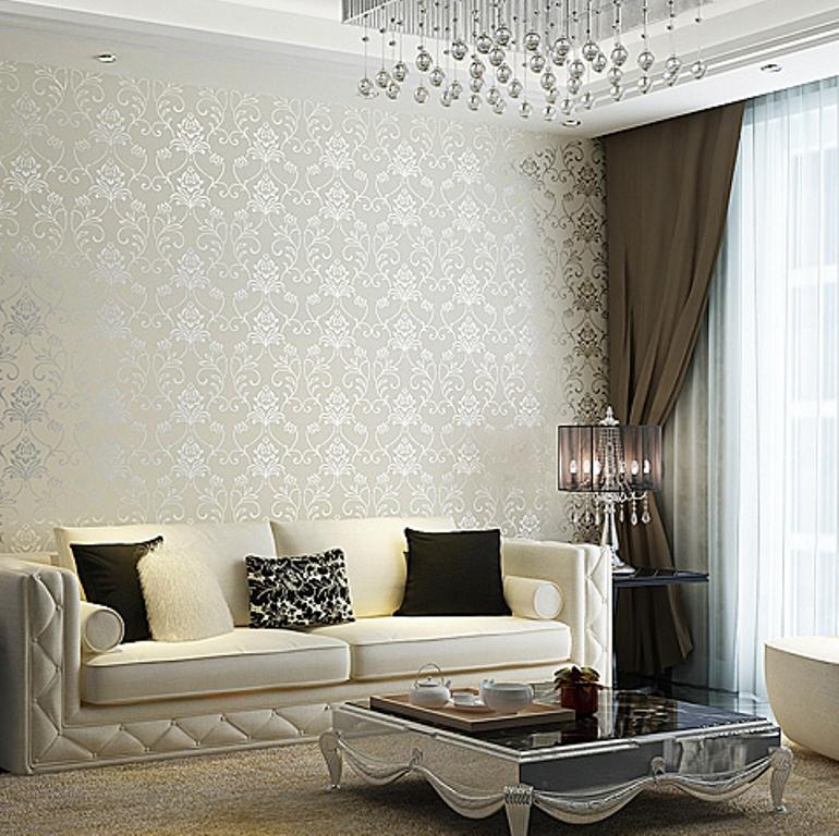 30 elegant and chic living rooms with damask wallpaper for Silver wallpaper living room