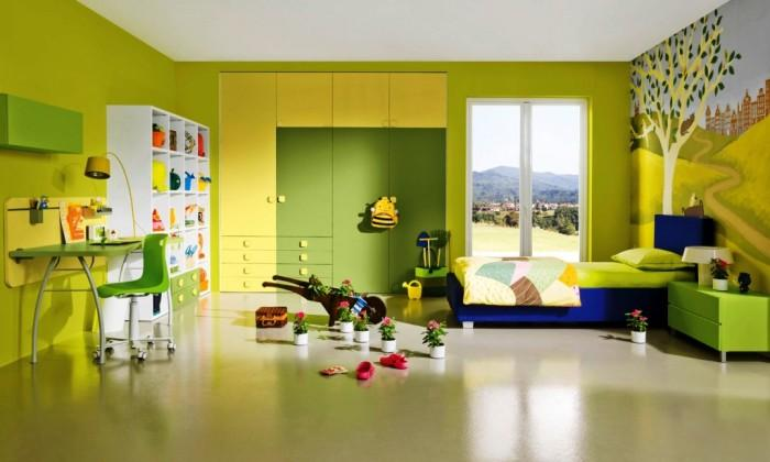 Stylish Lime Beautiful Kids Bedroom