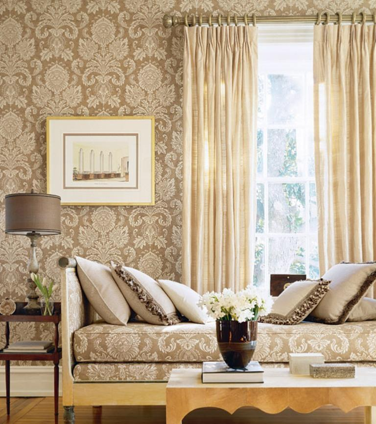Elegant And Chic Living Rooms With Damask Wallpaper Rilane - Damask living room furniture