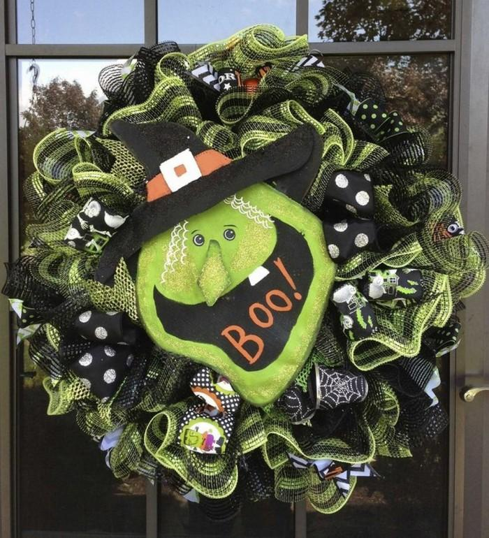 tabitha the good green witch halloween door wreath